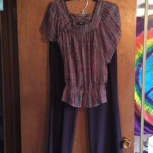 Business attire — shirt and deep purple pants